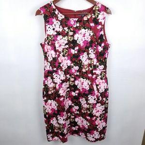 Lands' End Red Floral Sleeveless Dress Pockets 12P
